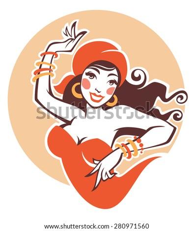 vector image of dancing gypsy