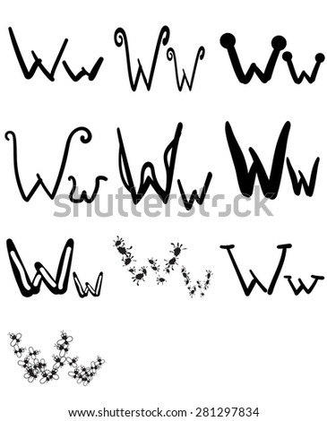 set of ten different letters w