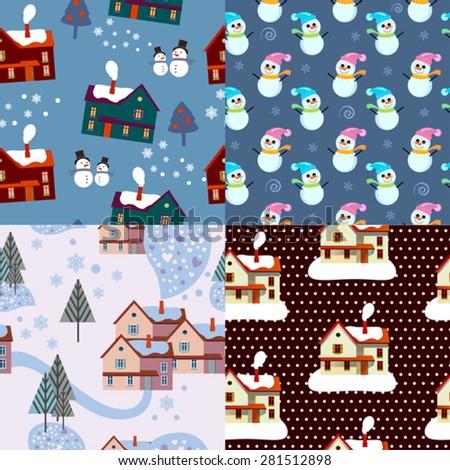color set of xmas winter