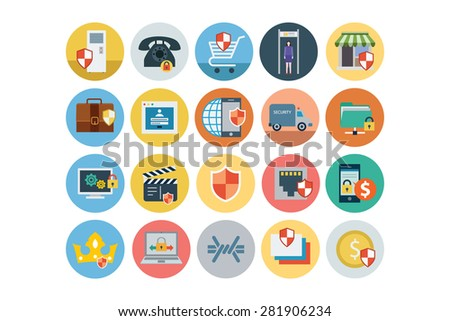 flat security vector icons 3