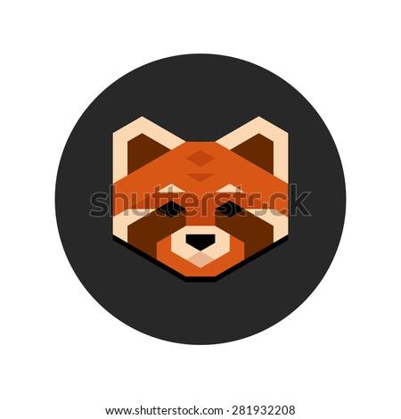 stylized geometric red panda