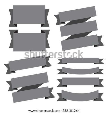 vector gray banners ribbons set