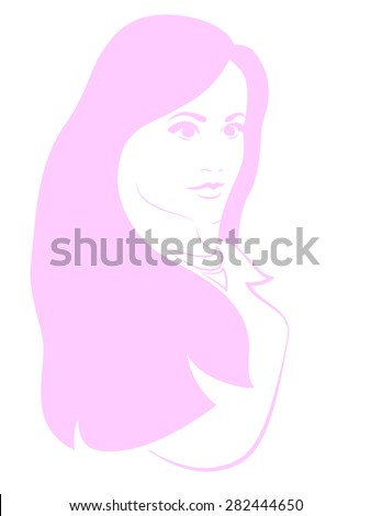 girl's head pink silhouette