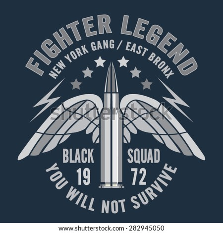 bullet fighter typography  t