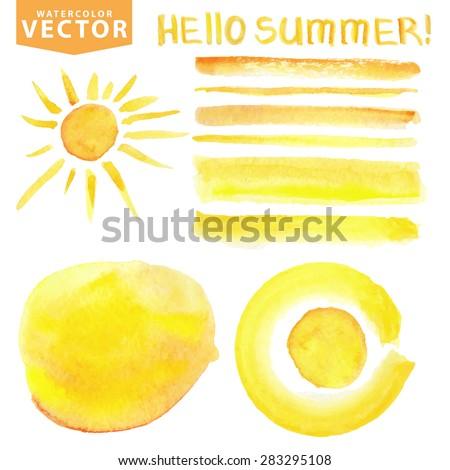 hello summer watercolor hand