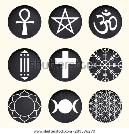 vector spiritual symbols set on