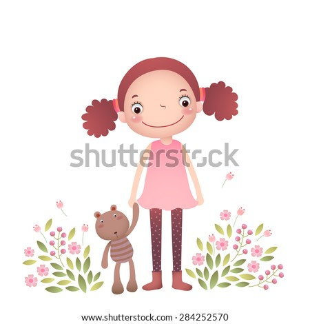 little girl with her teddy bear