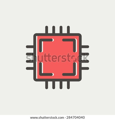 cpu icon thin line for web and