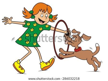 girl  dog and game