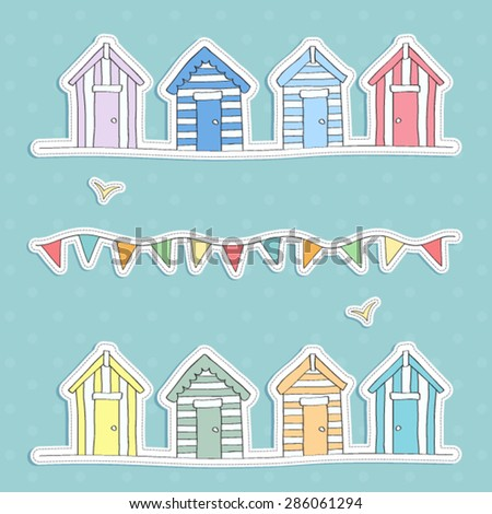 beach hut and bunting vector