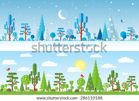 flat vector forest illustration