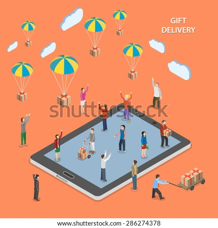 gift delivery flat isometric