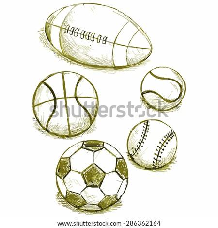 vector image of various balls