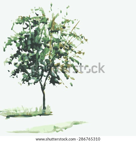 sketch illustration of a tree