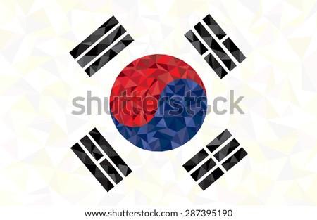 low poly flag south korea