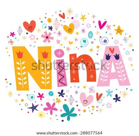 nina girls name decorative