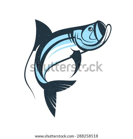 jumping tarpon fish logo