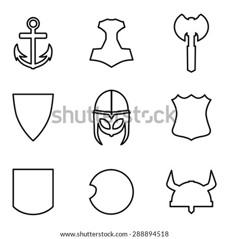 vector set medieval weapon icons