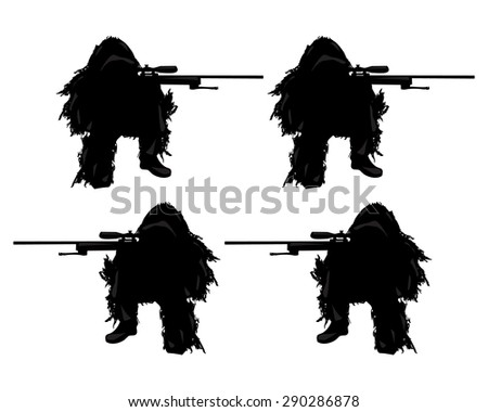 soldiers sniper silhouettes set