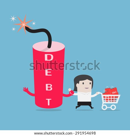 businesswoman and debt bomb