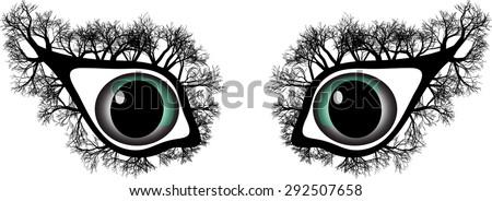 strange eyes with trees