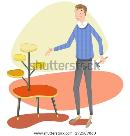 handyman presenting self made