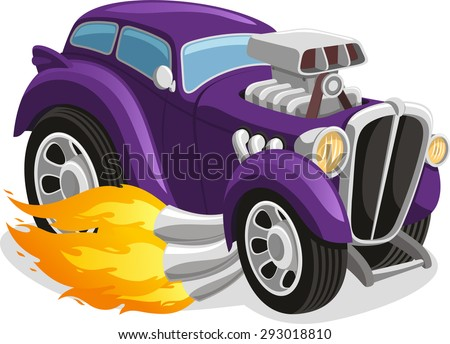 muscle car smoking flame