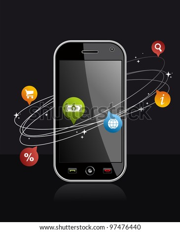 black smart phone with app on