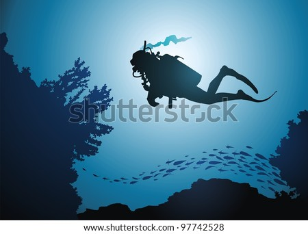 the diver floats among corals
