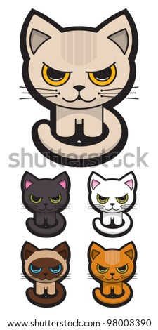 set of five adorable cats