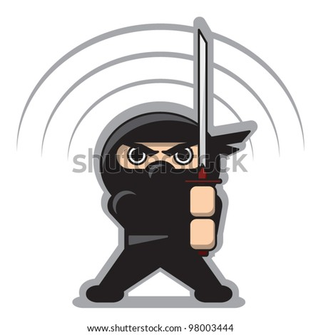 angry ninja with the sword