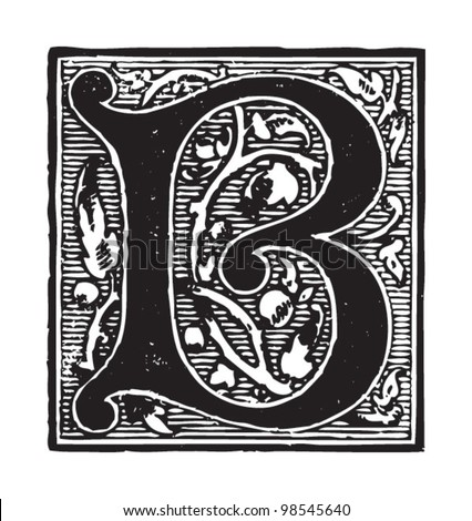 initial   letter b   vintage