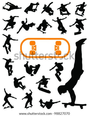 set of silhouettes jump skate