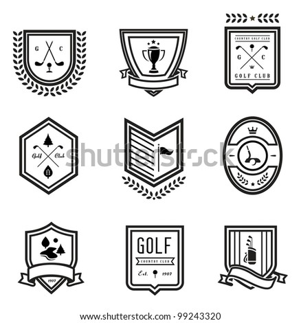 vector set of nine various golf