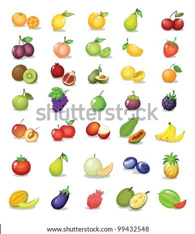 illustration of fruit on white