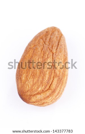 A almond with white background