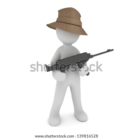 A bad 3d mafiosi with a gun. - stock photo
