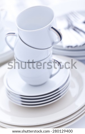 A big pile of dishes - stock photo