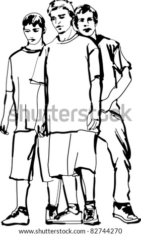 a black and white sketch of guys - stock photo
