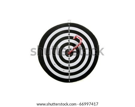 """a black and white target with a candy cane in the """"bulls eye"""" isolated on white with room for your text or images - stock photo"""