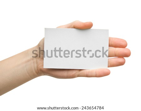 a card blank in a hand on the white - stock photo