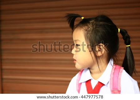A child's eyes Asian love. Portrait of a cute Asian child girl and Eat sticky rice with pork. - stock photo