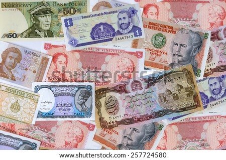 A collection of various currencies from countries - stock photo
