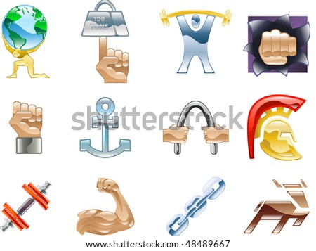 A conceptual icon set relating to strength and being strong. - stock photo