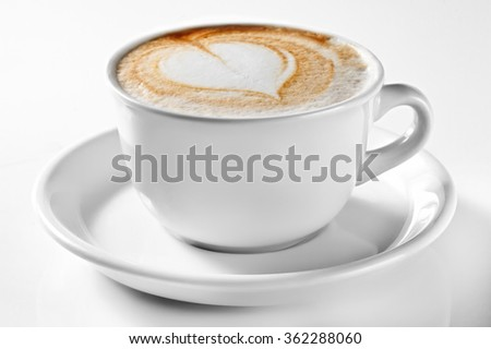 A  cup of coffee isolated on white. A cup of cappuccino.