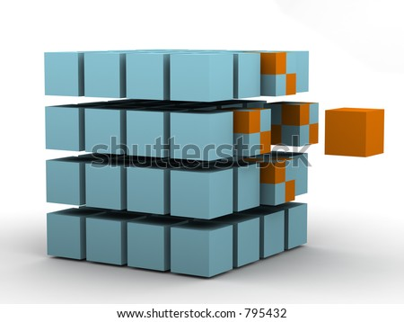 #2 - a 3d render of a conceptual scene (change or influence) - stock photo