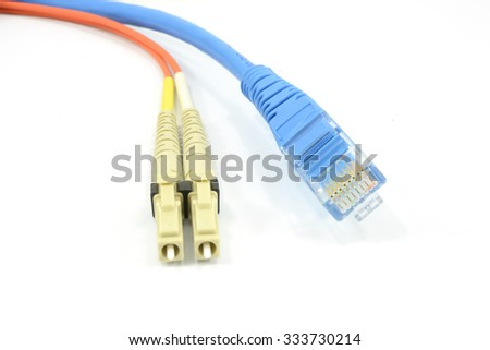 a fiber optic patchcord head and UTP LAN cable head