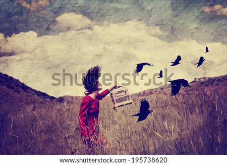 a girl walking in a field with a flock of birds done with a vintage retro instagram filter - stock photo