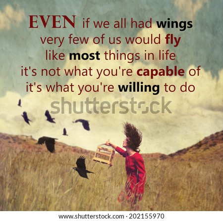 a girl walking in a field with a flock of birds with an original quote  - stock photo
