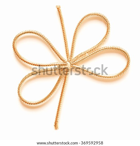 A golden ribbon over a white background vintage